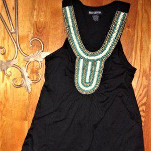 pretty boho beaded black tank top shirt womens